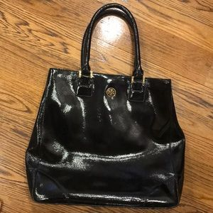 Tory Burch black patent leather tote/work bag